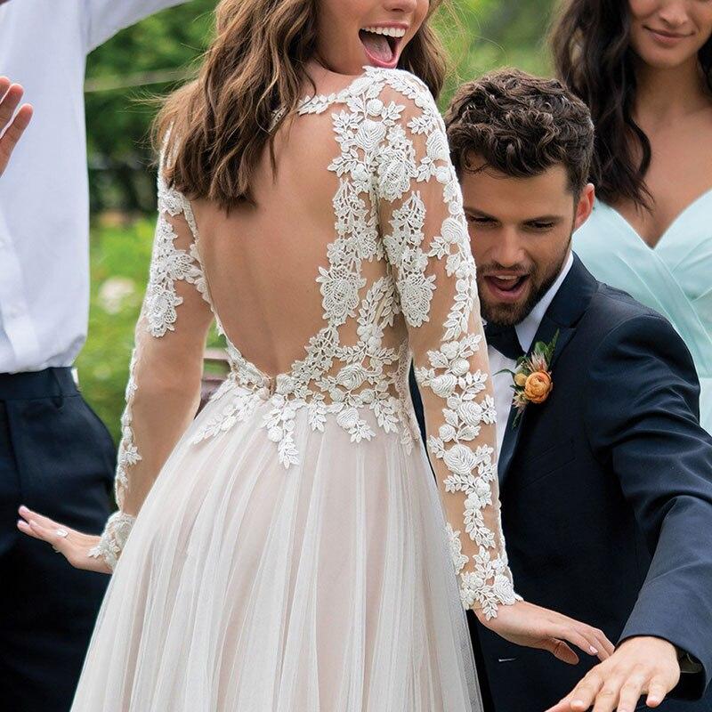 Manches longues Boho robe de mariée 2019 dos nu étage longueur Appliques dentelle une ligne Tulle robe de mariée Vintage robe de mariée