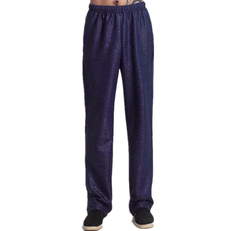 New Arrival Navy Blue Chinese Mens Kung Fu Trousers Cotton Linen Pants Wu Shu Clothing Size S M L XL XXL XXXL MN006