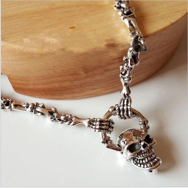 Thai silver necklace 925 Sterling Silver Genuine men long Punk Skull Pendant Necklace Set retro bone chain chain