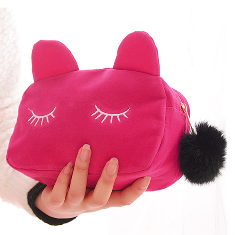 PURDORED 1 Pc Portable Cartoon Cat Cosmetic Bag Coin Storage Case Travel Makeup Bag Pouch With Fur Ball Neceser Dropshipping