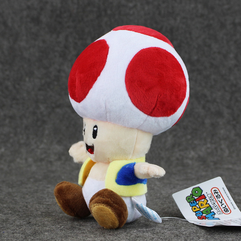1pcs 7'' 17cmCute Super Mario Bros Plush Toys Mushroom Toad Soft Stuffed Plush Doll with Sucker Baby Toy For Kids 1