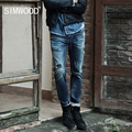 Simwood 2016 New Arrival Mens Jeans Brand Destroyed Hole Jeans Straight Men's Jeans Denim Harem Jeans Men Free Shipping