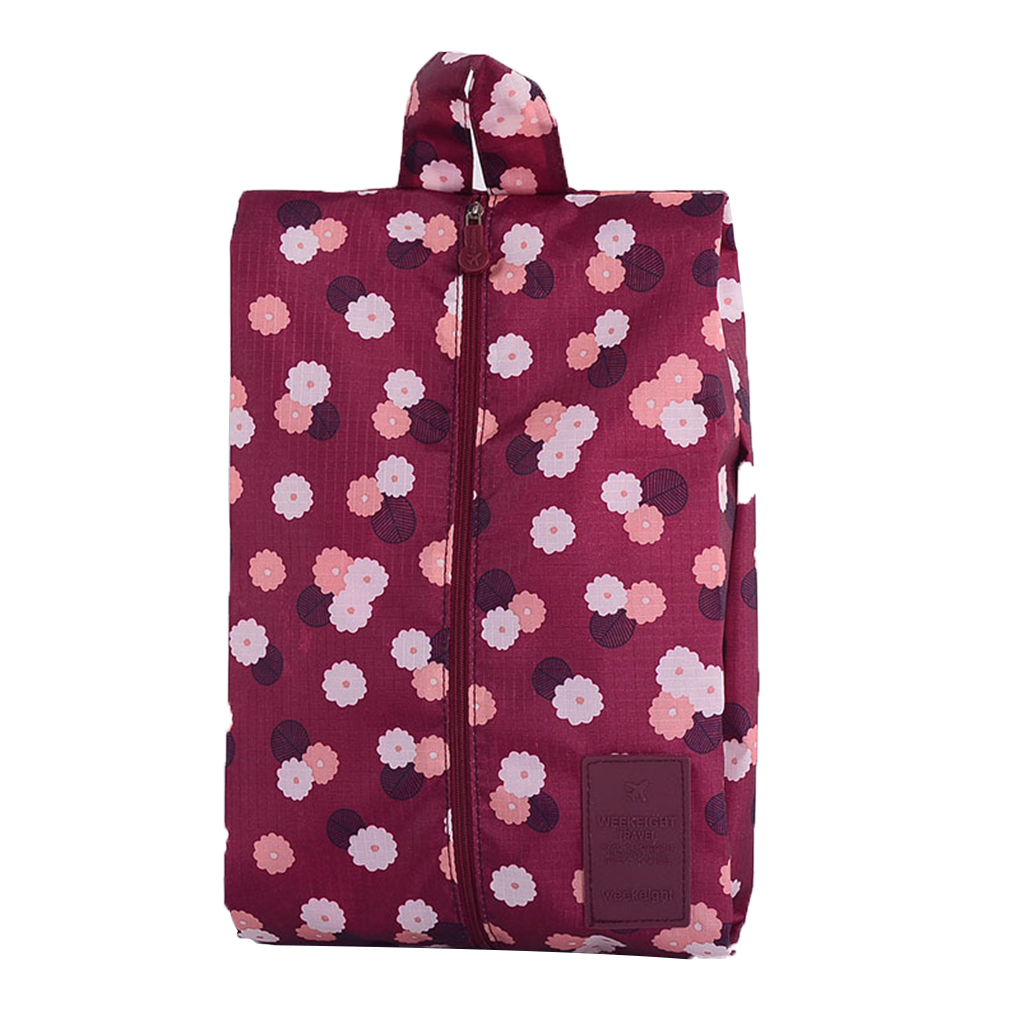 8 color Multipattern Waterproof Nylon Portable Travel Shoe Storage Bag Pouch with Zip cosmetics stationery