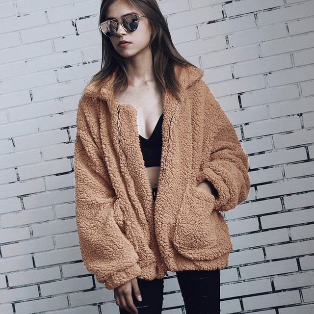 f3df095e581 Women Faux Fur Coats Jackets Fluffy Shaggy Fashion Autumn Winter Warm Teddy  Coat Casual Zipper Pocket Jacket Female Outwears 3XL