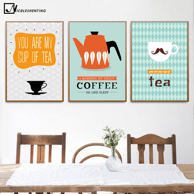 Captivating Funny Quotes Canvas Poster Cartoon Minimalist Art Canvas A4 Painting Coffee  Tea Wall Picture Print Modern