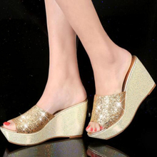 Designer Bling Platform Women Sequined Wedge Slippers Muffin