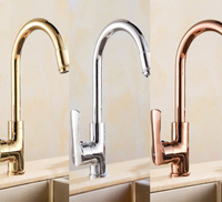 High quality European style golden/silver/rose golden kitchen mixer faucet hot and cold water brass body rotatable