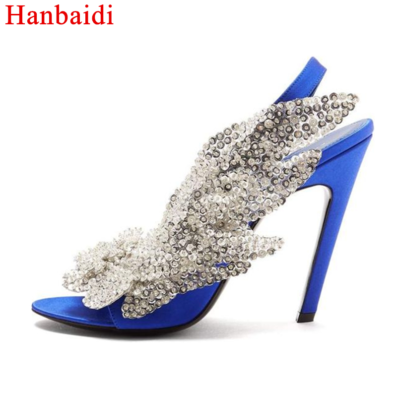 Здесь продается  Hanbaidi Women Summer Sandals Sexy Rhinestone Crytal Woemn Pumps Runway Stain Women Outfit High Heels Party Wedding Shoes Women  Обувь