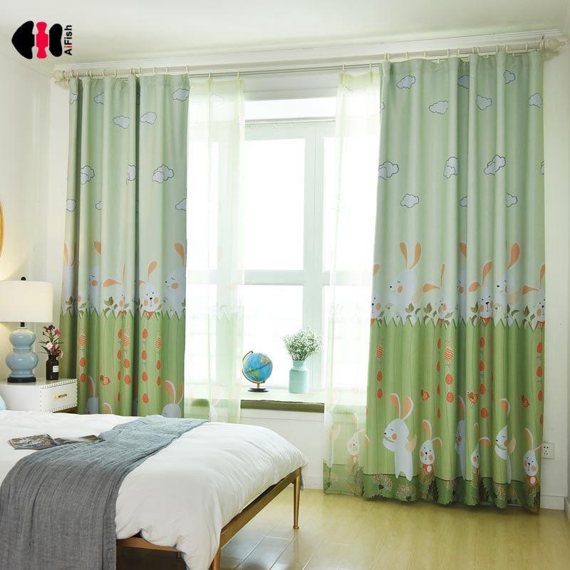 Cartoon Linen Cotton Boy Bedroom Curtains Embroidery: Cartoon Cute Rabbit Curtains Semi Shading Blinds Cotton