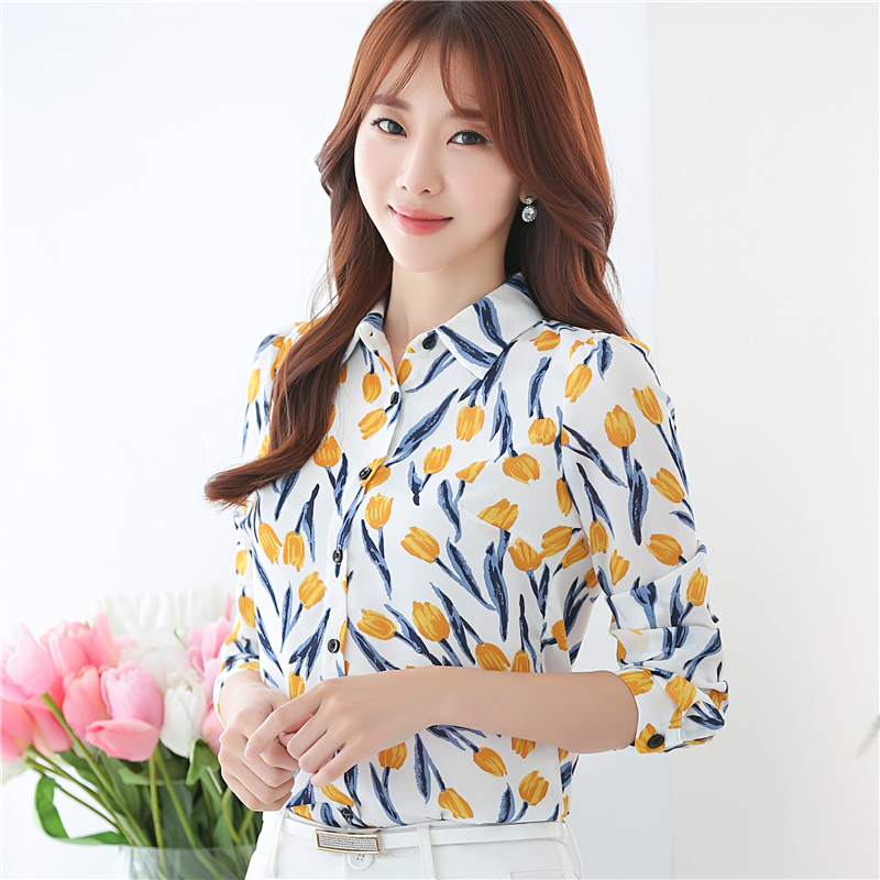 2017 Fashion Formal Blouses Autumn Wear Full Long Sleeve Office Lady Work Wear Chiffon Womens Shirts White with Yellow Flower