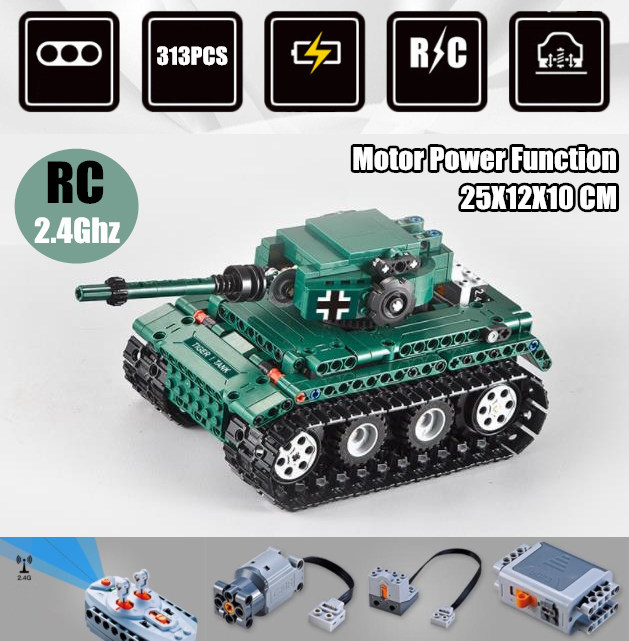 New RC Military Tank RC motor power function fit technic Swat City Model Building Blocks bricks
