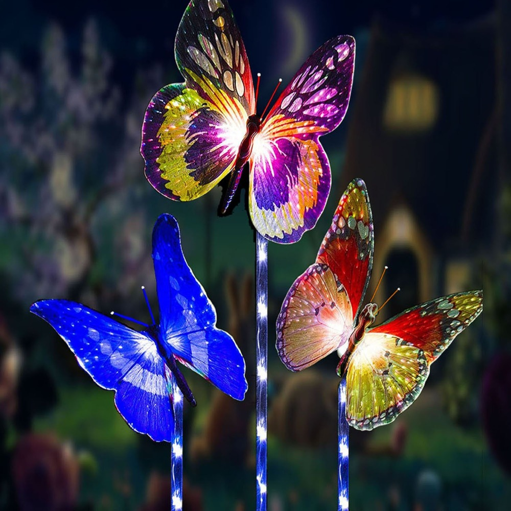 3 Pack Waterproof Solar Powered Butterfly Lights Colorful Landscape Lighting for Fence,Lawn,Garden Christmas Decorative Light3 Pack Waterproof Solar Powered Butterfly Lights Colorful Landscape Lighting for Fence,Lawn,Garden Christmas Decorative Light
