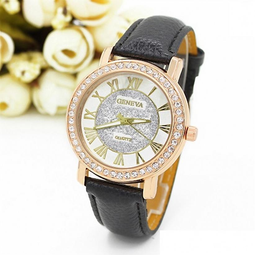 Geneva Women Faux Leather Rhinestone Crystal Analog Quartz Wrist Watch Montre Femme Marque De luxe ladies Watch top sale montre femme quartz watch women s fashion geneva roman numerals faux leather analog wrist watch relogios femininos yo1
