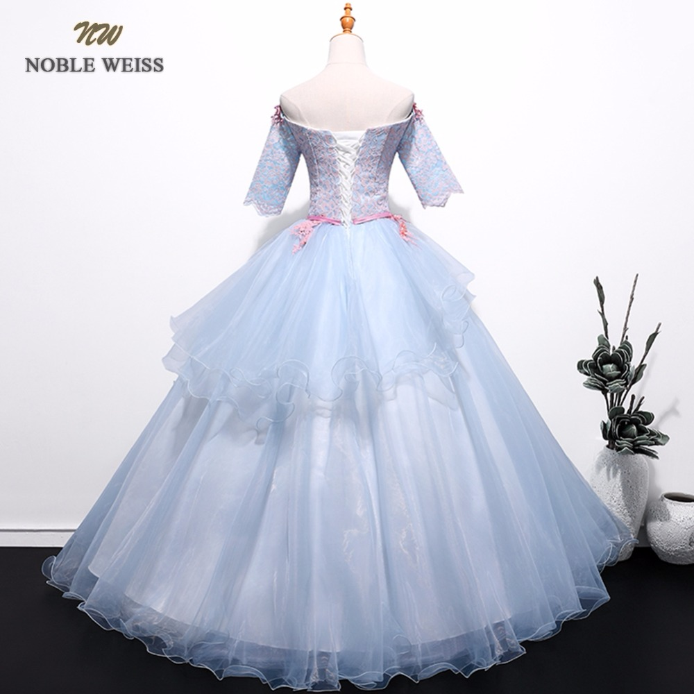 NOBLE WEISS Gray Prom Dresses Lace Appliques Beading Robe De Soiree Ball Gown Sexy Organza Prom Gown With Short Sleeves