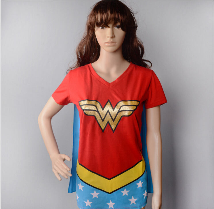 Womens Wonder Woman Shirt With Cape