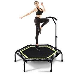 Hexagon 45/48 zoll Ruhig Trampolin w/Handlauf für Kinder Erwachsene Home GYM Fitness Cardio Jump Workout Stabilität übung