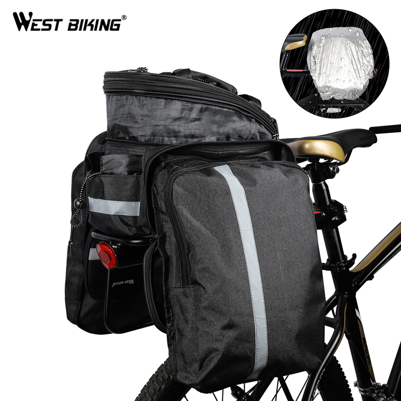 WEST BIKING Mountain Road Bicycle Bag Bike 3 In 1 Trunk Bag Cycling Double Side Rear Rack Tail Seat Pannier Pack Luggage Carrier