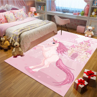 Pink unicorn Cartoon bedroom Kids Crawl blanket Flannel princess powder carpets for living room Home child room rug and carpet