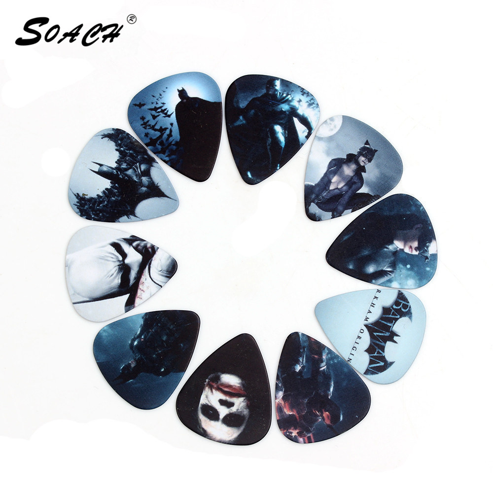 SOACH 50pcs/Lot 0.71mm thickness guitar accessories high quality two side pick DIY design Batman pick guitar picks