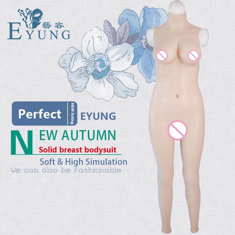 EYUNG 70D copa forma mama bodysuit top sólida realistas de silicone travestir transsexual peitos vestido apertado Zentai terno masculino para feminino