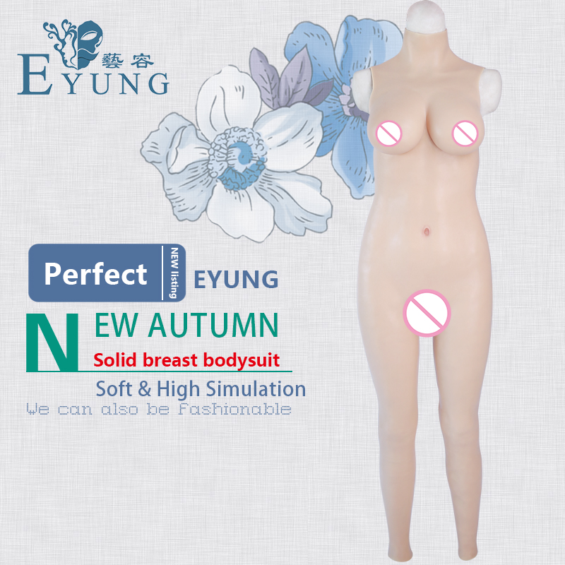 EYUNG 70D cup solid breast form bodysuit top realistic crossdress silicone boobs tight dress Zentai suit male to female shemale silicone masks female with breast beauty woman latex mask crossdress female crossdresser d cup