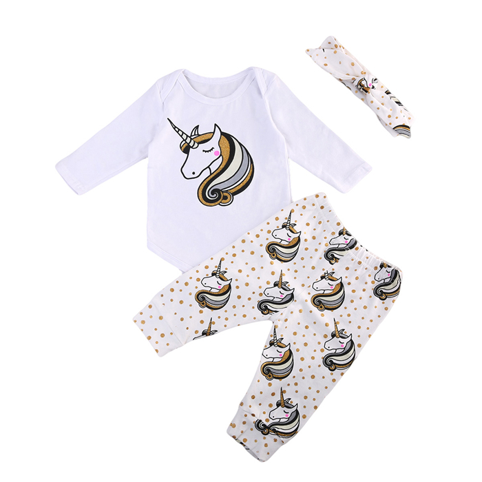 Cute Baby Girl Unicorn Clothes Set Toddler Baby Girl Tops Romper Pants Headband 3Pcs 2017 New Bebes Outfits Girls Clothing Sets