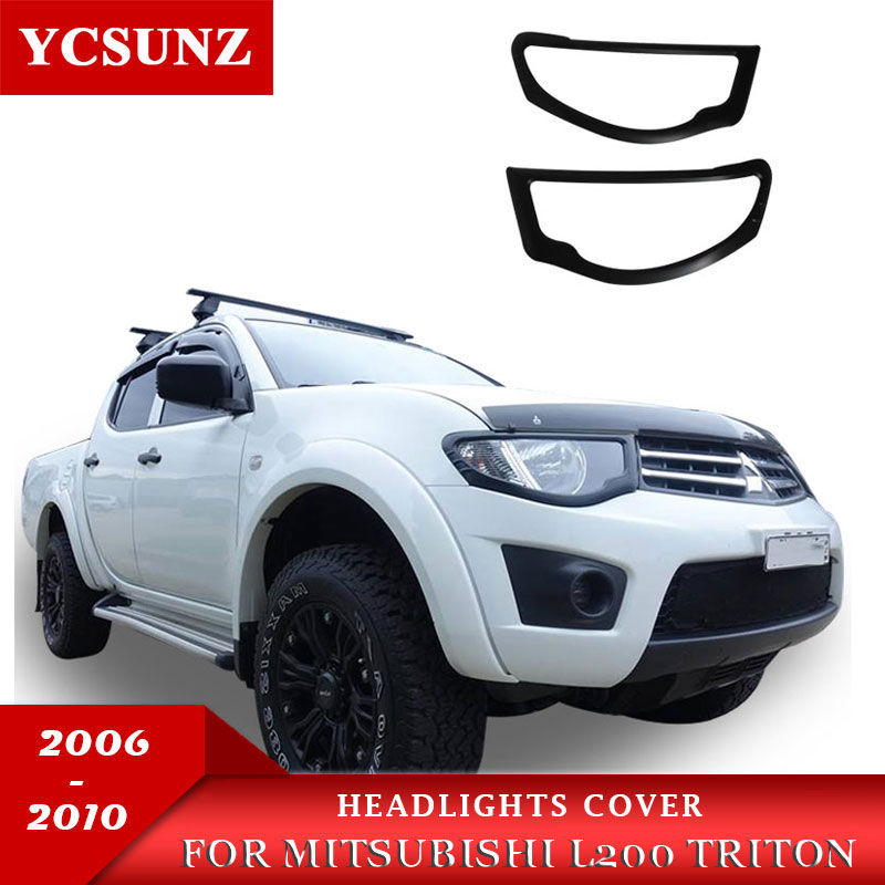Matte Black Headlights Cover Trim For Mitsubishi L200 Triton 2006 2007 2008 2009 2010 Car Styling