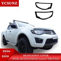 Matte Zwarte Koplampen Cover Trim Voor Mitsubishi L200 Triton 2006 2007 2008 2009 2010 Auto Styling|light black|light covermitsubishi accessories -