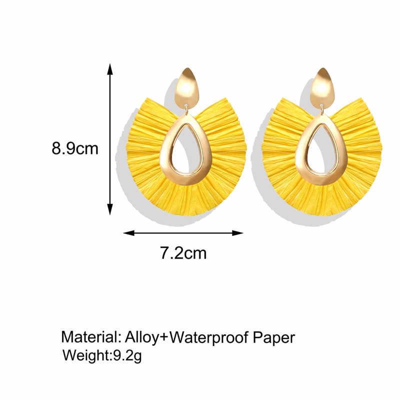 AY Big Tassel Raffia Drop Earrings for Women Girls Za 2019 Pendientes Jewelry Buy Raffia Drop Earrings Get Shell Earrings