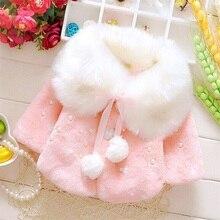 2018 Lovely Faux Fur Coats for Baby Girls Winter Black Dot Clothing Child Wool Outwear Little Girl Beadings Shawl Kids Costume