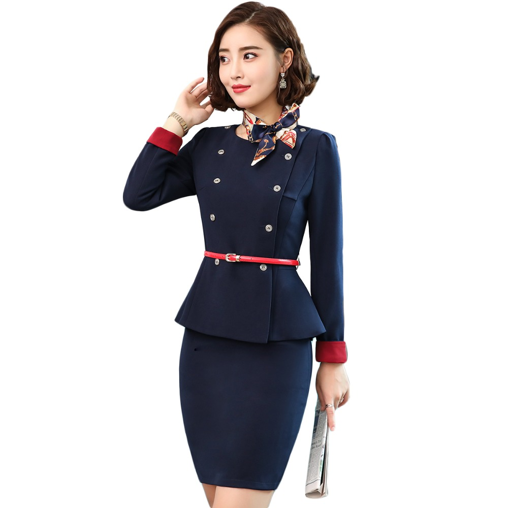 2018 winter women suits slim work wear skirt suits formal office ladies full half short sleeve