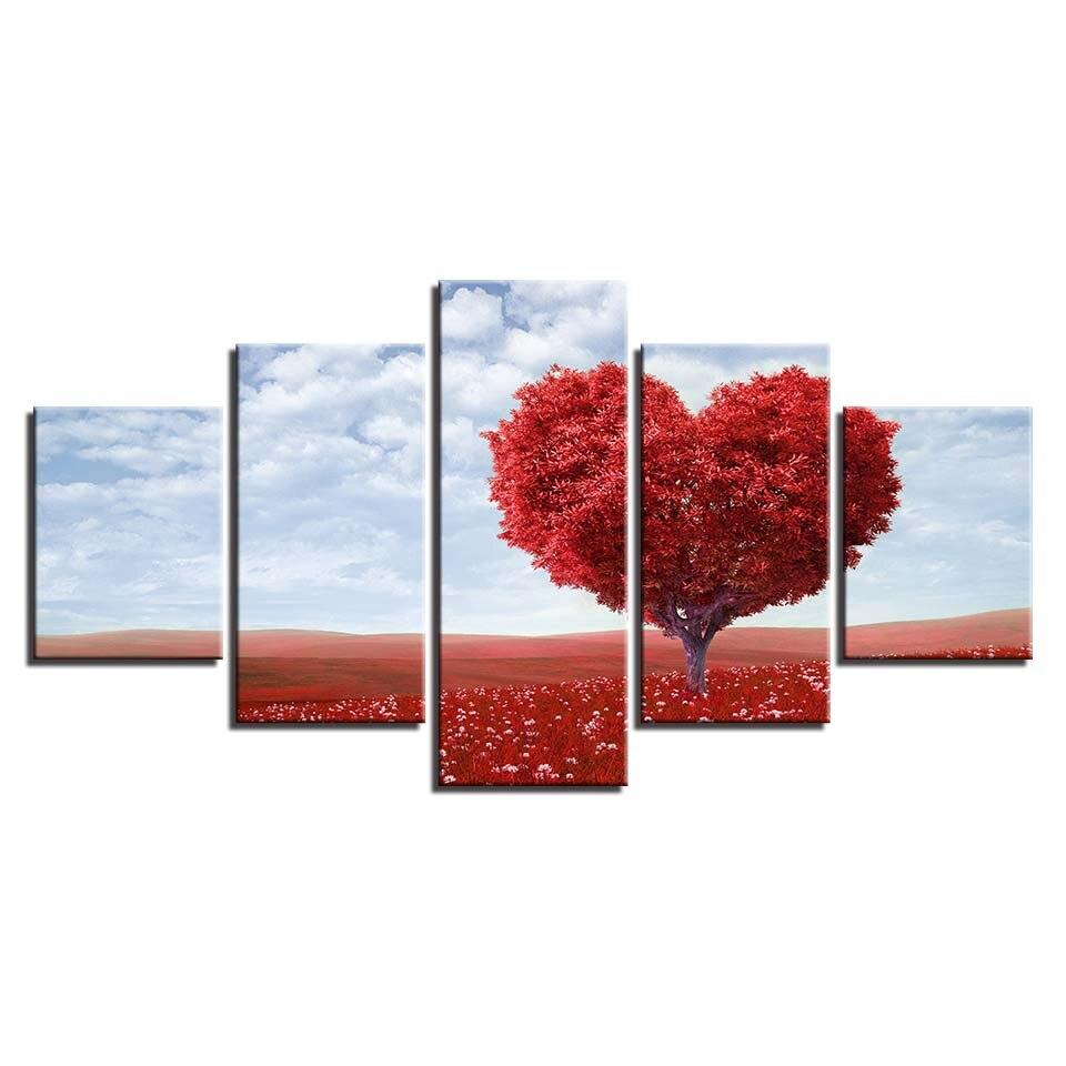 Toile peinture salon mur Art 5 pièce rouge romantique Tableau amour ...