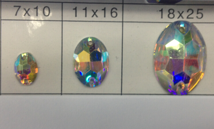 मुफ़्त शिपिंग ~! 50 ~ 100 पीसी, 7x10 मिमी, 11x16 मिमी, 18x25 मिमी अंडाकार आकार क्रिस्टल एबी रंग फ्लैट बैक सीवन राल पत्थरों पर।