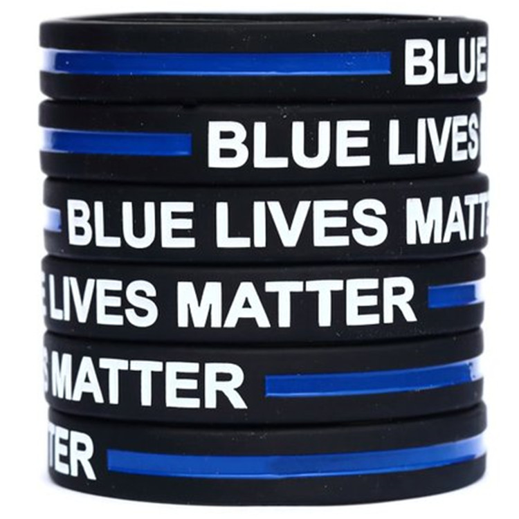 100pcs blue thin line lives matter rubber silicone wristband bracelet free shipping by ePacket