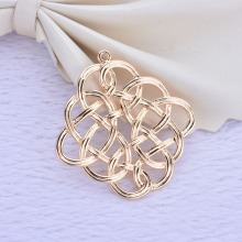 4PCS 30.4x30.8MM 24K Champagne Gold Color Plated Brass Chinese Knot Charms Pendants for Jewelry Making Findings