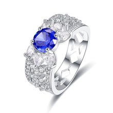 Top Quality Created Blue Sapphire ruby Rings For Women Silver 925 Sterling Jewelry Ring Wedding Engagement Party Gifts top quality princess kate blue gem created blue crystal 925 sterling silver wedding finger crystal ring brand jewelry for women