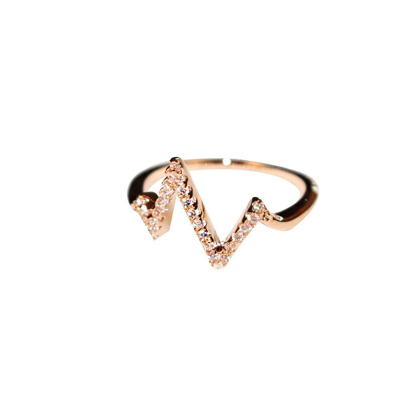Женское кольцо с электрокардиограммой молнией золотистые кольца