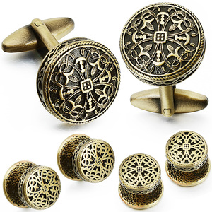Image 4 - HAWSON Vintage Cufflinks and Tuxedo Shirt Studs for Men Retro Flower Pattern   Best Wedding Business Gifts for Men with Box