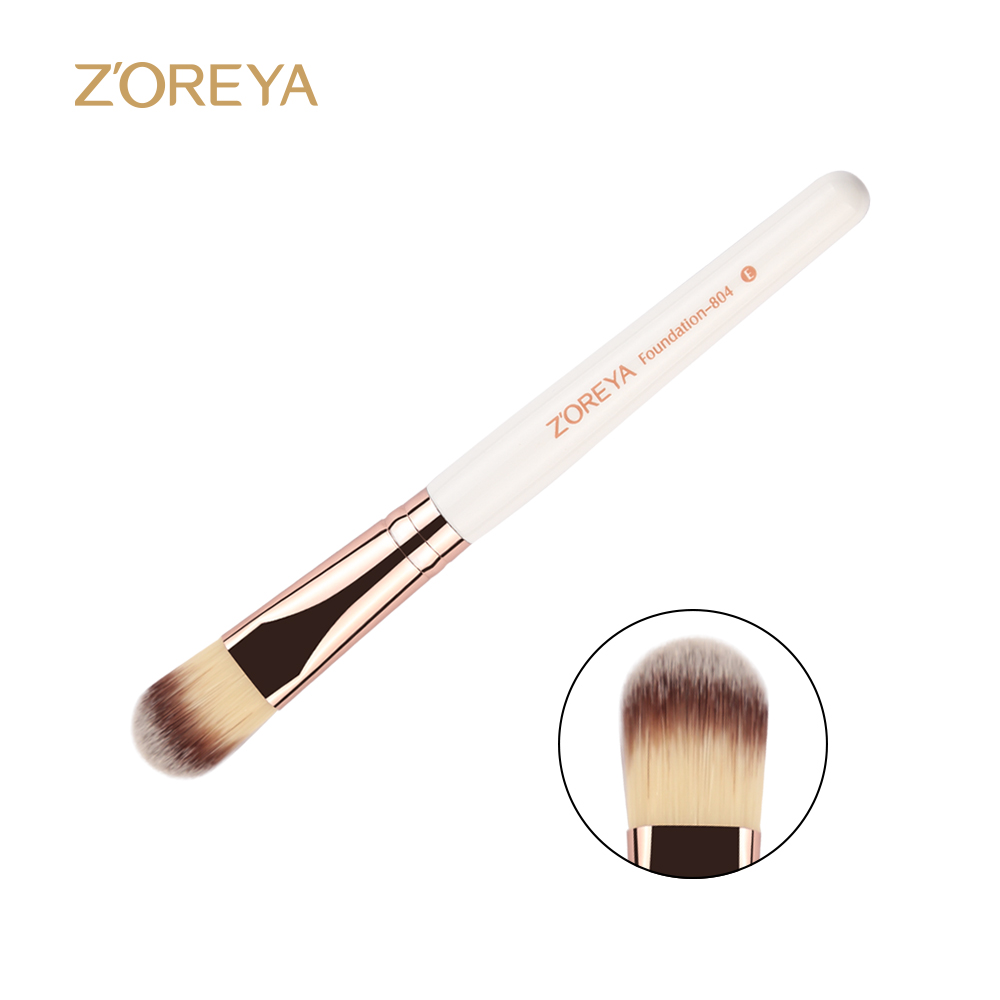 Zoreya Brand New arrive High quality white wooden handle Make up brush Foundation brush for women cosmetic make up tool