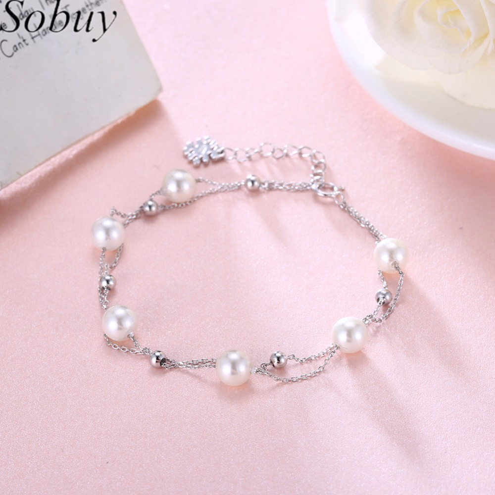 SOBUY 100% 925 Sterling Silver & Pearl Bracelet, Double layer chain - Joyas - foto 1