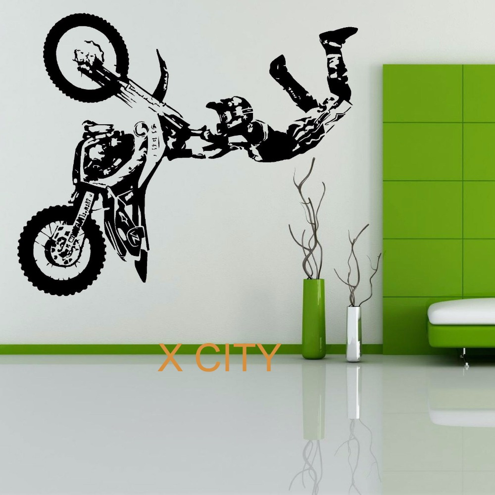 buy stunt bike motorbike x games mx wall sticker motocross dirt bike grapic. Black Bedroom Furniture Sets. Home Design Ideas