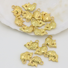 High quality spacers beads accessories 10*15mm 10pcs charms fishes shape gold plated accessories fashion jewelry making B2562