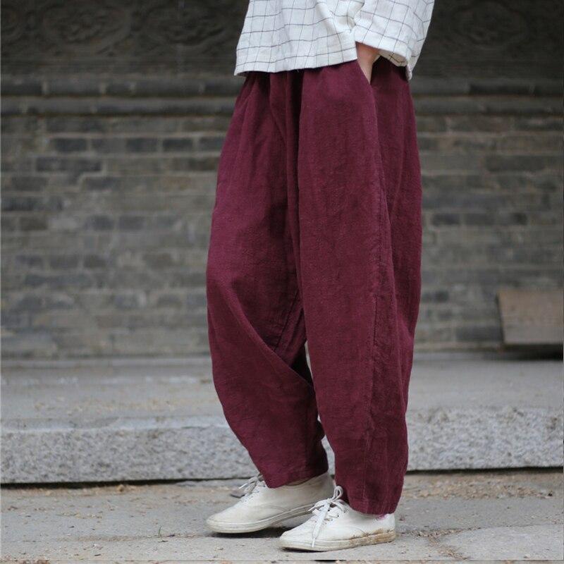 Johnature Women Harem Pants Elastic Waist 2018 Fall Winter New Plus Size Women Clothing Linen Vintage Trouser Loose Warm Pants