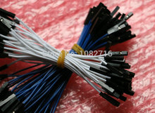 10cm 26 AWG 2.54mm 1p Female to Female Dupont Wire Jumper Cable For Arduino DIY Board  40pcs ( White , Blue Each 20 pcs )