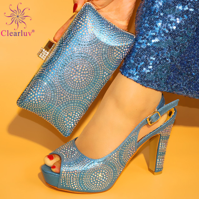 0b57cac53d2 L.Blue Color Nigeria Wedding Shoes And Bag To Match Set African Summer PU  With Stone Pumps Shoes And Purse Set For Woman