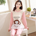 Korean version of the cartoon monkey pattern letter printing long sleeve round neck cute sweet lady home service suit A9092