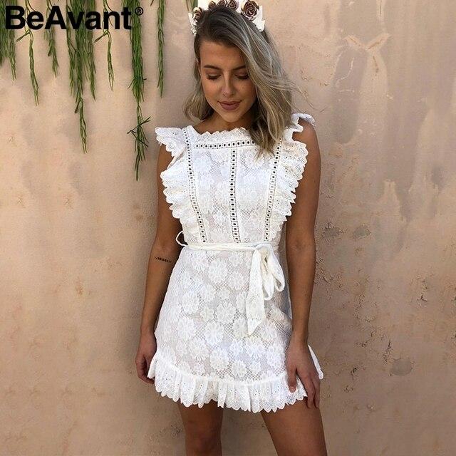 9898bdf4ed BeAvant Vintage ruffle pinafore white women dress Elegant lace high waist  summer dress Embroidery cotton short dress party