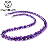 4 5 11mm 51cm A Natural Stone Necklace Amethyst 925 Sterling Silver Necklace Women Jewelry Long