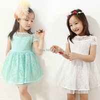 Retail - New Fashion Girls Lace Dress Baby Girls Party Dresses Prom Summer Princess Dress Kids Clothing Blue Pink White