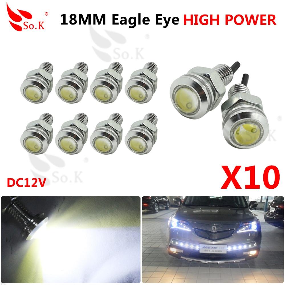 10pcs High Brightness DRL 18mm Eagle Eyes Daytime Running Light LED Car Work Lights Source Waterproof Parking Lamp Car Styling